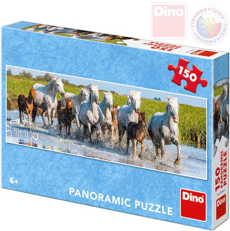 DINO Puzzle panoramatické 66x23cm Camargští koně 150 dílků v krabici