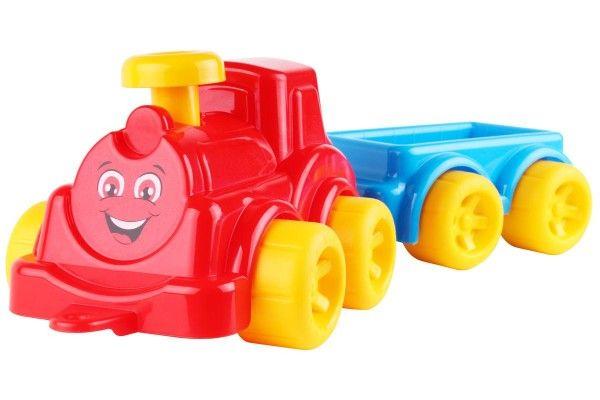 Lokomotiva/Vlak s vagonem plast v síťce 21x13x22cm 12m+