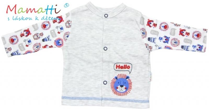 Bavlněná košilka Mamatti - LION - šedý melírek