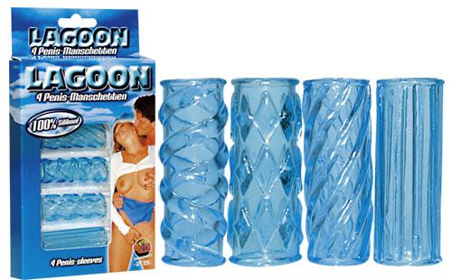 4 modré návleky na penis - Lagoon