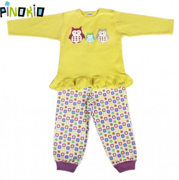 Pyžamko PINOKIO - žlutá/kostička nebo proužek