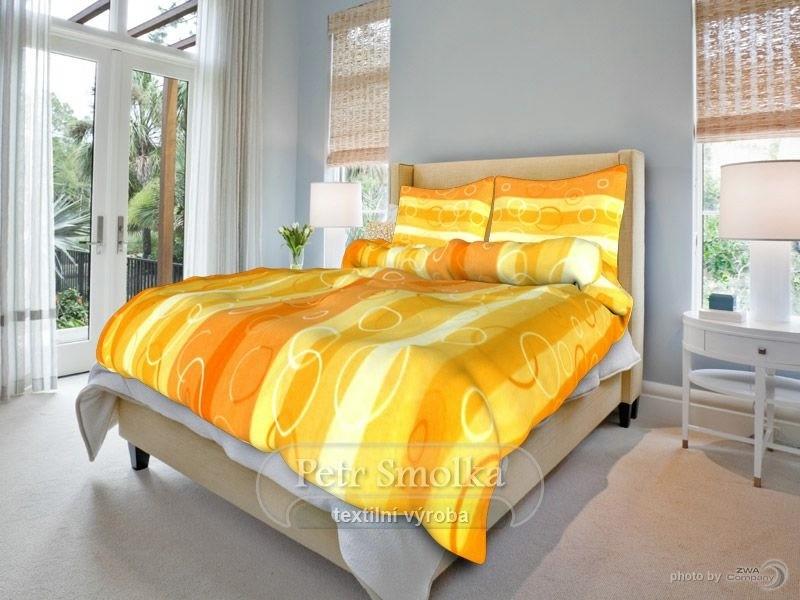 Krepové povlečení Kola oranžová - 140x200+70x90