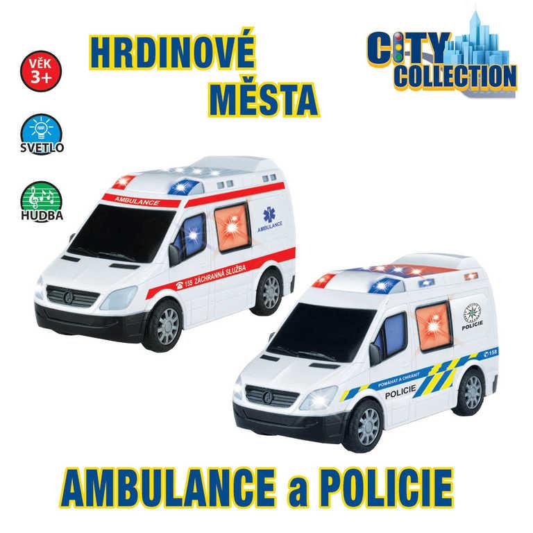 CITY COLLECTION auto POLICIE nebo AMBULANCE narážecí se světlem