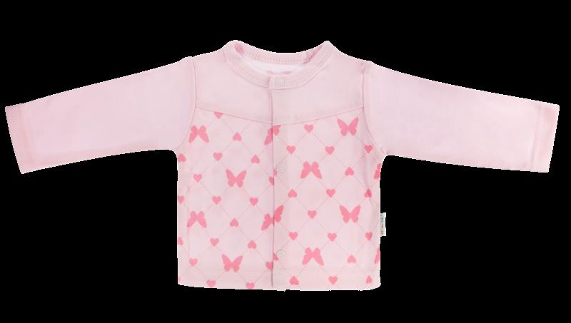 Mamatti Bavlněná košilka Motýlek srdíčko - růžová, vel. 74 - 74 (6-9m)