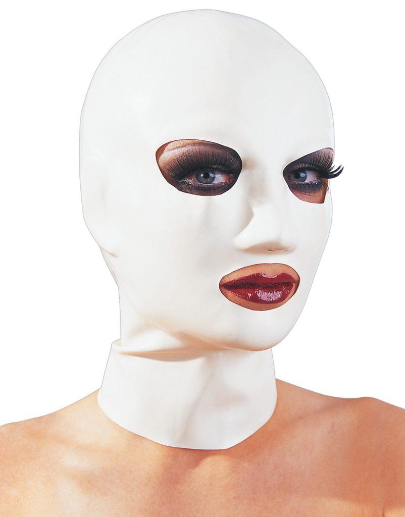 Bilá latexová maska s otvory pro ústa a oči