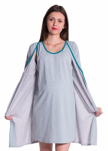 Be MaaMaa Těhotenská, kojící noční košile + župan - tečky, zelená, vel.