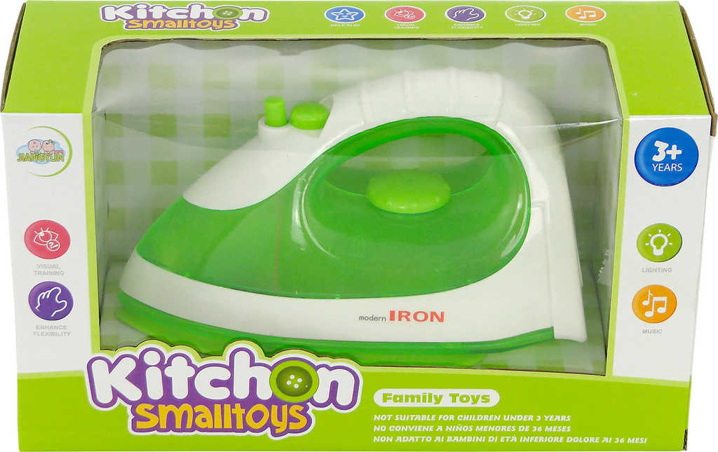 Žehlička dětská napařovací zelená na baterie Světlo Zvuk v krabici