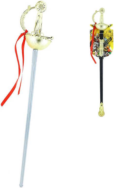 Meč dětský mušketýrský zdobený 61cm zlatá rukojeť v pouzdře