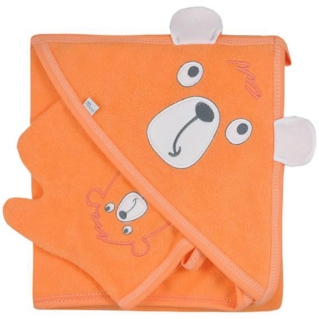 Dětská osuška s žínkou Koala Yogi orange - oranžová