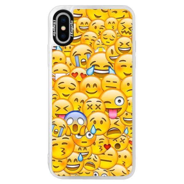 Neonové pouzdro Pink iSaprio - Emoji - iPhone X