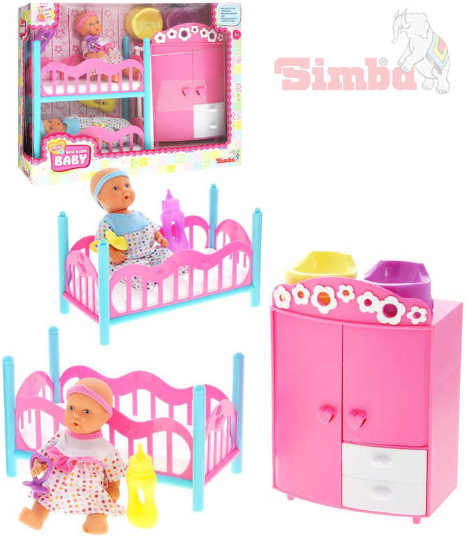 SIMBA Dětský pokoj + 2 panenky (pije + čůrá) 12 cm