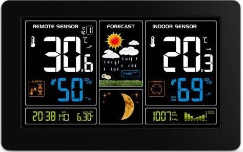 Solight meteostanice, extra velký barevný LCD, teplota, vlhkost, tlak, RCC, USb nabíjení,