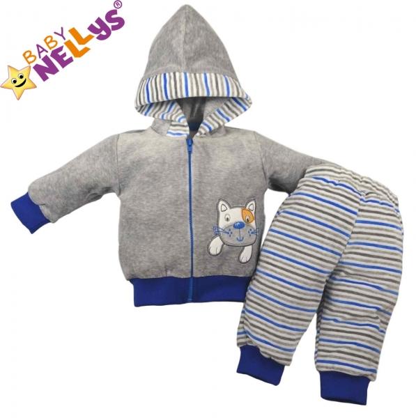 Tepláková soupravička Baby Nellys ® - Kočička proužek modrý - 74 (6-9m)