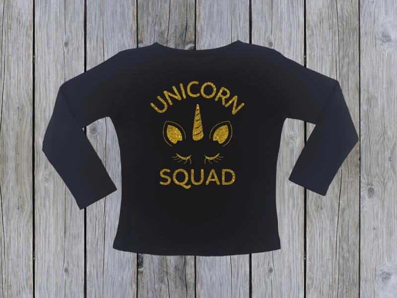 kidsbee-divci-bavlnene-tricko-unicorn-squad-cerne-vel-128-128