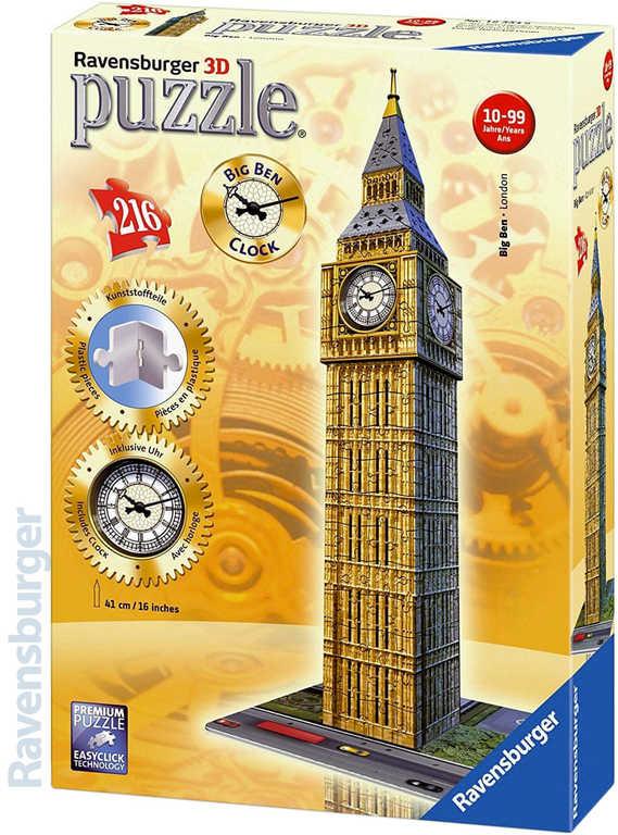 RAVENSBURGER Puzzle 3D model Big Ben funkční hodiny na baterie 216 dílků