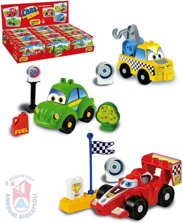 ANDRONI Autíčko malé stavebnice set 8 dílků různé druhy v krabičce