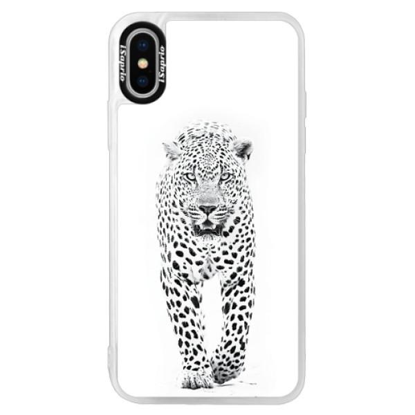 Neonové pouzdro Pink iSaprio - White Jaguar - iPhone X