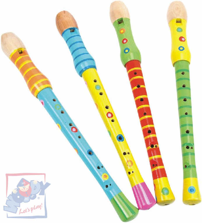 WOODY DŘEVO Flétna dětská 33 cm barevná