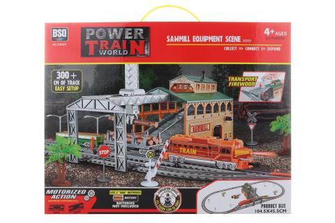Vlaková sada s jeřábem na dřevo