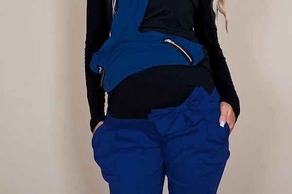 Be MaaMaa Těhotenské kalhoty s mašlí - Modré - M (38)