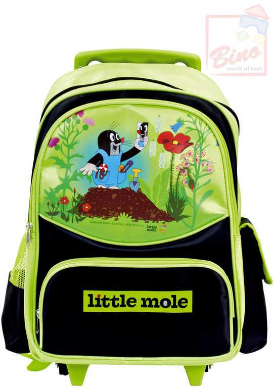 BINO Batoh dětský kufřík na kolečkách Krtek (Krteček) černo-zelený s rukojetí