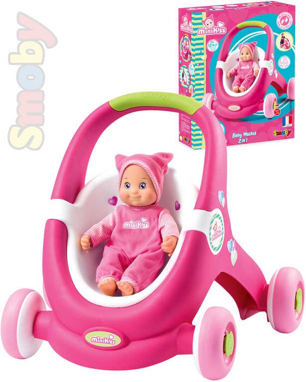 SMOBY Odstrkovadlo 2v1 Minikiss Baby Walker růžový kočárek pro panenky