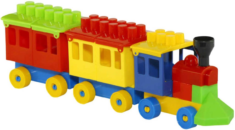 PL Baby stavebnice vláček mašinka + 2 vagonky kostky pro miminko