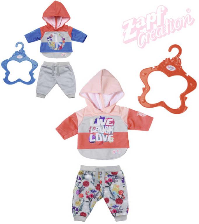 ZAPF Baby Born set teplákovka + ramínko obleček pro panenku miminko 2 druhy