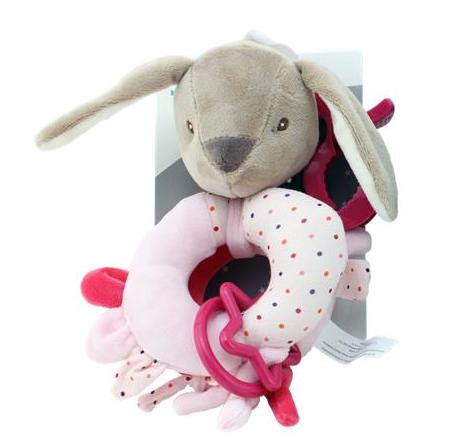 Závěsná plyšová hračka s klipem Králíček, 16 cm - růžový