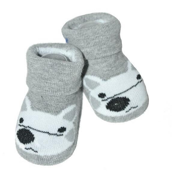 Kojenecké ponožky Risocks protiskluzové - Liška, šedé, 12-24 m - 12/24měsíců