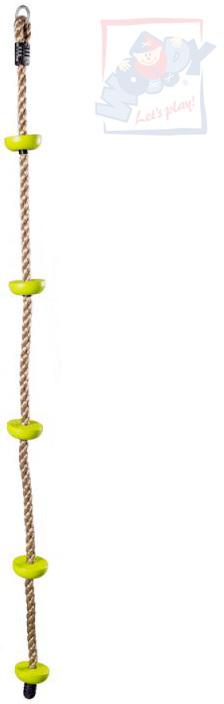 WOODY Lano šplhací provaz 200cm se stupátky