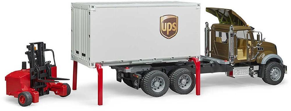 BRUDER 02828 Auto Mack Granite UPS přeprava peněz set s vozíkem a paletami