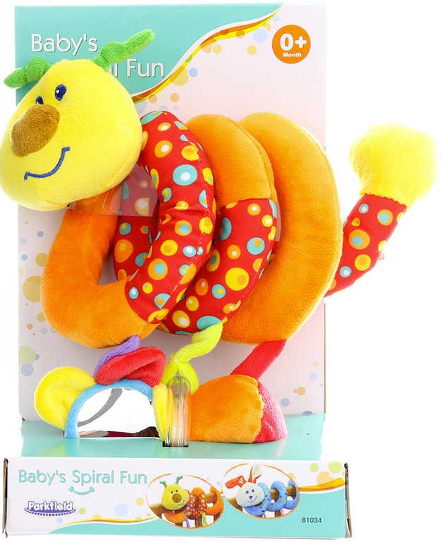PLYŠ Baby spirála housenka chrastítko s aktivitami na postýlku pro miminko