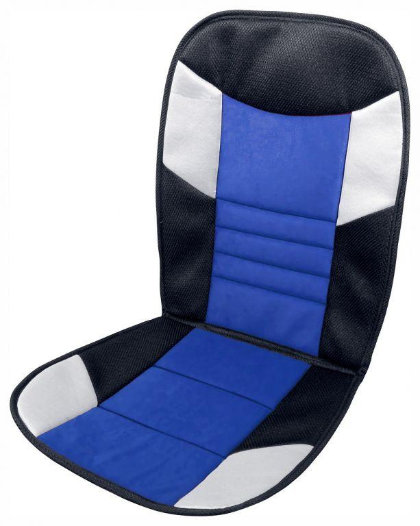 Potah sedadla Tetris - 46 x 102 cm, černo/modrý