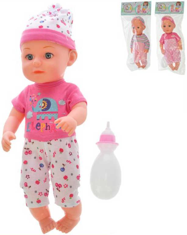 Miminko pije čůrá 33 cm set panenka s kojeneckou lahvičkou - 3 druhy