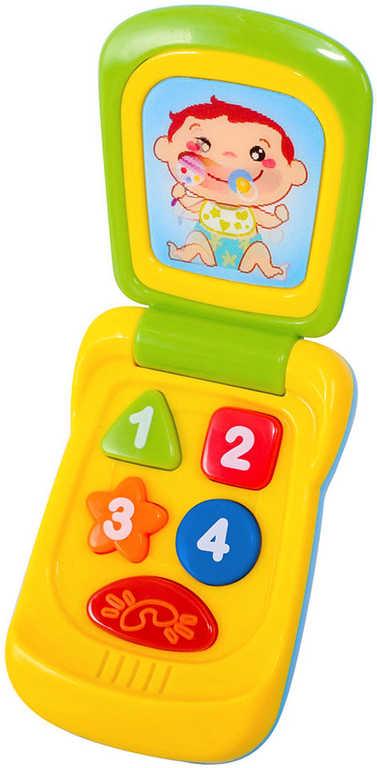 Baby mobil 14 cm barevný vyklápěcí telefon pro miminko na baterie
