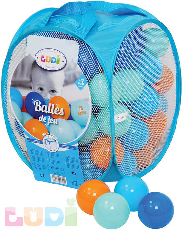 LUDI Baby míčky měkké modré + oranžové set 75ks v tašce plast
