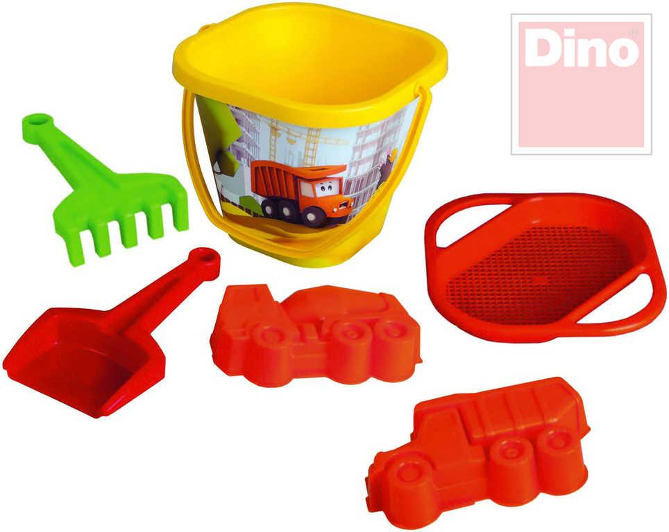 DINO Tatra velký set 6ks na písek kyblík s doplňky + 2 bábovky auta plast