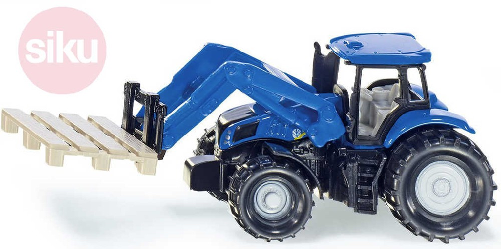 SIKU Traktor modrý Holland nakladač palet model kov 1487