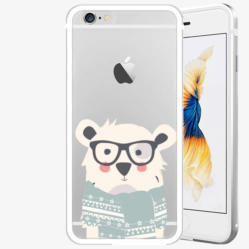 Plastový kryt iSaprio - Bear With Scarf - iPhone 6/6S - Silver