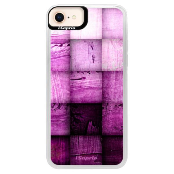Neonové pouzdro Pink iSaprio - Purple Squares - iPhone 8