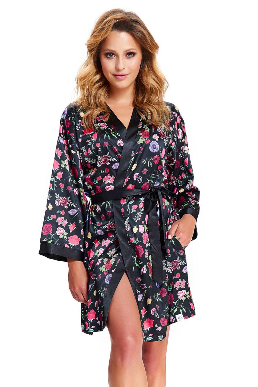 Dámský župan Dn-nightwear SMW.9527 - Black/S