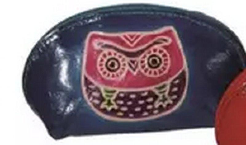 Kožená peněženka se sovou - Modrá - růžová sova