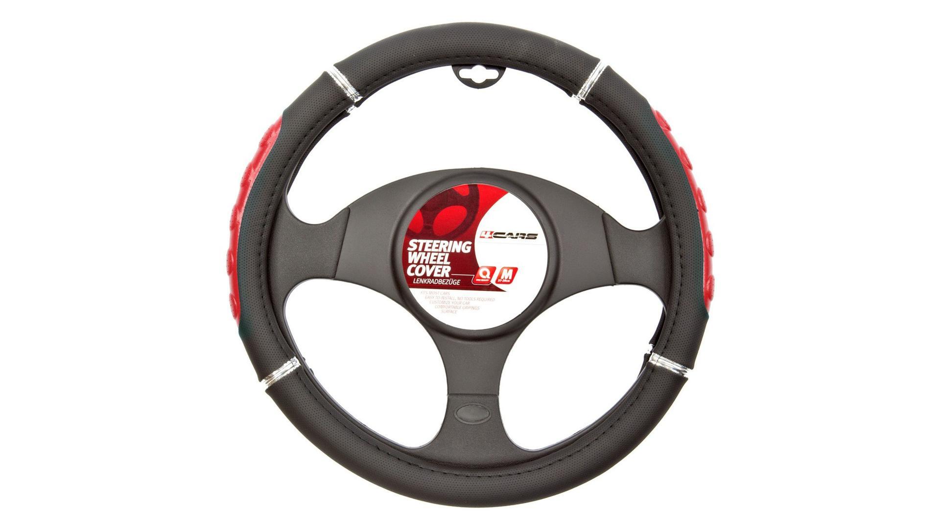 4CARS Potah volantu 37-39cm červený