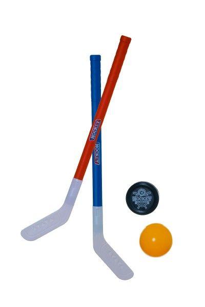 Hokejka pozemní 2 ks plast + florbalový míček + puk v síťce