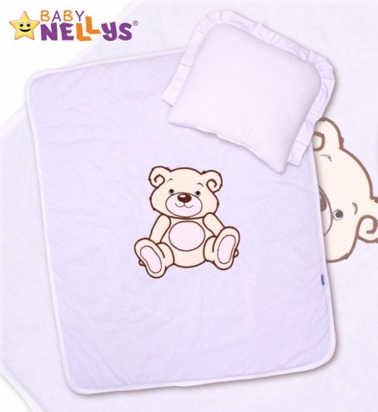 Baby Nellys 2-dílná sada do kočárku jersey Medvídek Teddy Bear - bílá