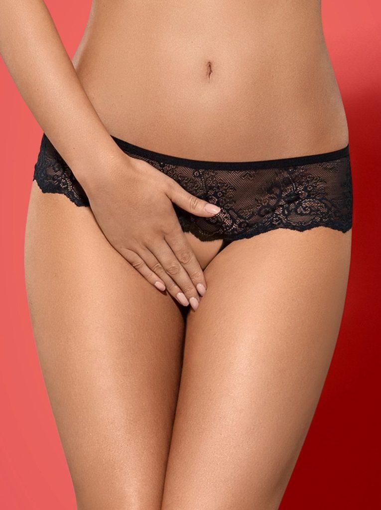 Kalhotky Obsessive Merossa panties otevřené - Černá - L/XL