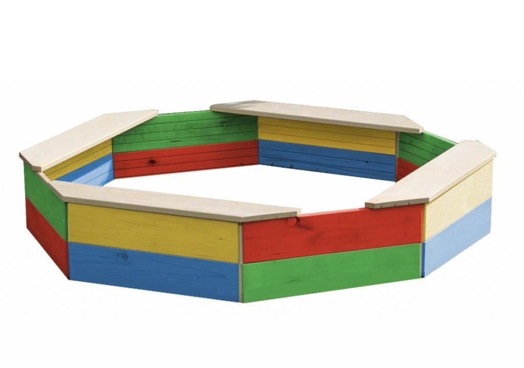 Dřevěné osmihranné pískoviště barevné