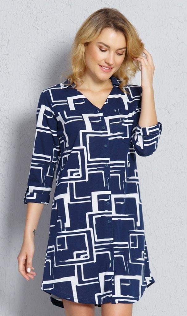 Dámské domácí šaty s tříčtvrtečním rukávem Kateřina - tmavě modrá - S