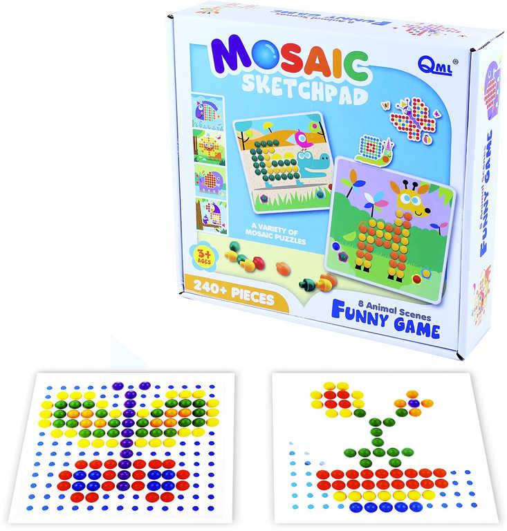 Mozaika barevná hříbečková zvířátka set 240 dílků + 8 předloh v krabici